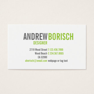Modern White Lime Green Business Card Template