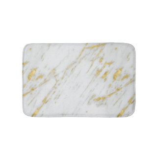 Modern White Marble And Gold Glitter Bath Mat