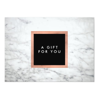 Modern White Marble and Rose Gold Gift Certificate Card
