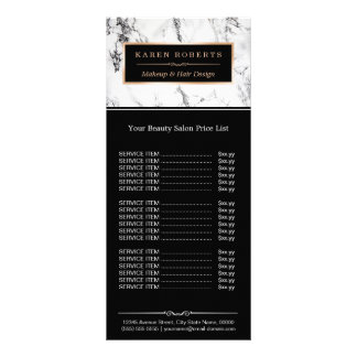 Modern White Marble Beauty Salon Price List Rack Cards