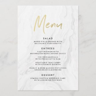 Modern White Marble Gold Script | Wedding Menu