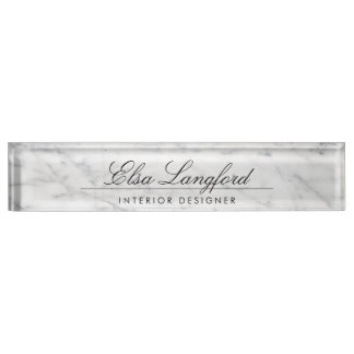 Modern White Marble Luxury Designer Desk Nameplate
