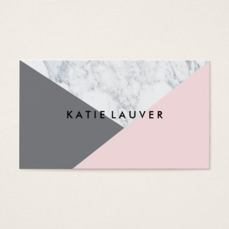 Modern white marble pink gray hue color block chic business card