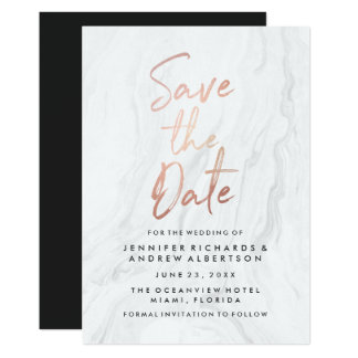 Modern White Marble Rose Gold Script Save The Date Card