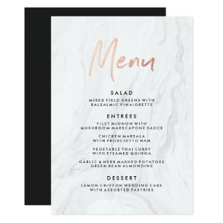 Modern White Marble Rose Gold Script Wedding Menu Card