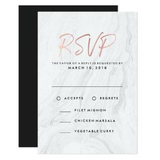 Modern White Marble Rose Gold | Wedding RSVP Menu Card