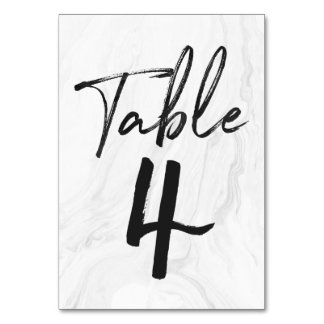 Modern White Marble Script | Table Number Card 4