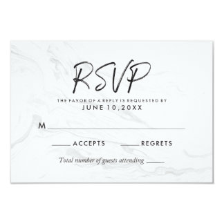 Modern White Marble Script | Wedding RSVP Card