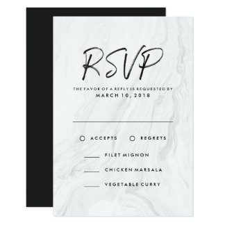 Modern White Marble Script | Wedding RSVP Menu Card