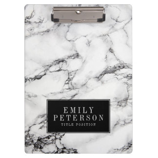 Modern White Marble Stone With Black Background Clipboard