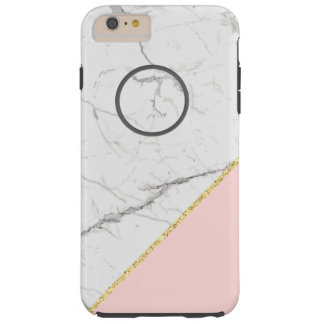 Modern white marble texture Pink Glitter Style Tough iPhone 6 Plus Case
