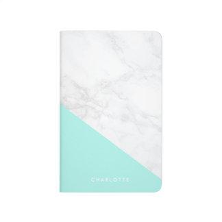 Modern White Marble with Aqua Blue Block Journal