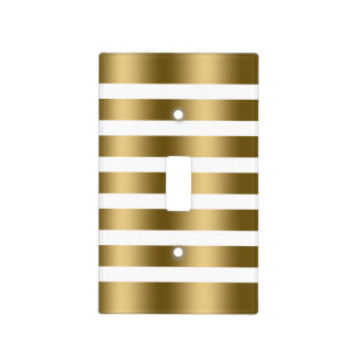 Modern White & Metallic Look Gold Stripes Pattern Light Switch Cover