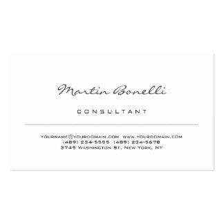 Modern White Minimalist Consultant Business Card