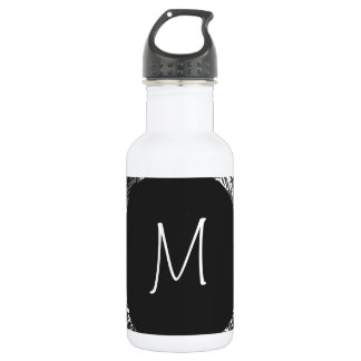 Modern White Monogram On Stylish Abstract Pattern 532 Ml Water Bottle