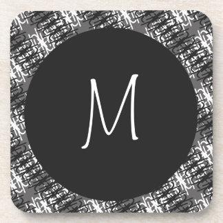 Modern White Monogram On Stylish Abstract Pattern Coaster
