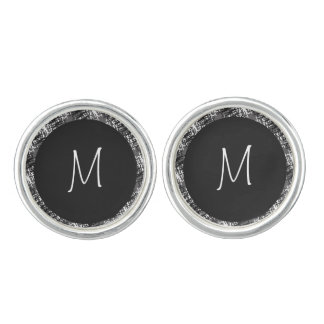 Modern White Monogram On Stylish Abstract Pattern Cuff Links