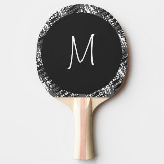 Modern White Monogram On Stylish Abstract Pattern Ping Pong Paddle