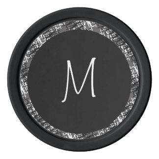 Modern White Monogram On Stylish Abstract Pattern Poker Chips
