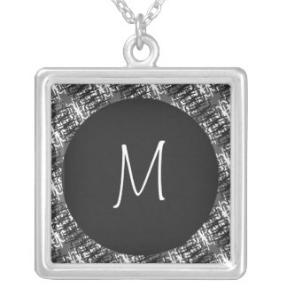 Modern White Monogram On Stylish Abstract Pattern Silver Plated Necklace