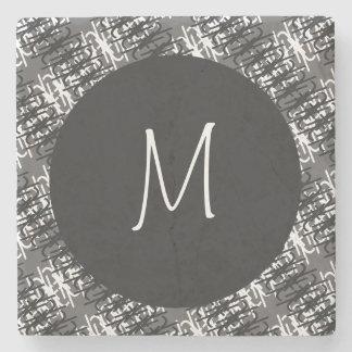 Modern White Monogram On Stylish Abstract Pattern Stone Coaster