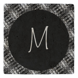 Modern White Monogram On Stylish Abstract Pattern Trivet
