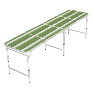 Modern White on Green Stripe Beer Pong Table