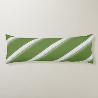 Modern White on Green Stripe Body Pillow