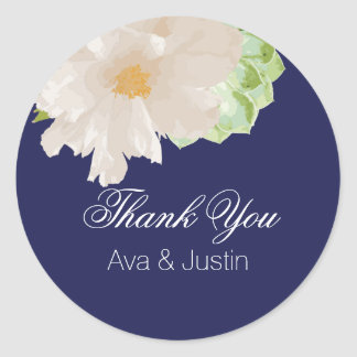 Modern White Peony and Succulents on Navy Classic Round Sticker