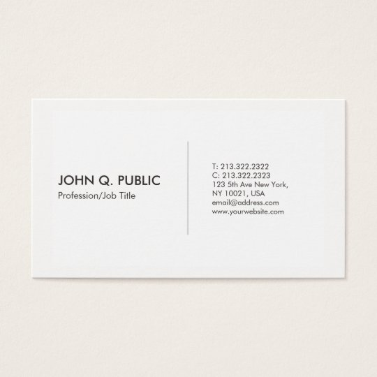 Modern White Professional Clean Elegant Business Card