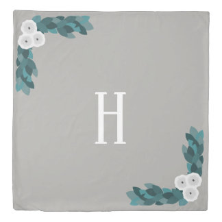 Modern White Ranunculus Flowers & Foliage Duvet Cover