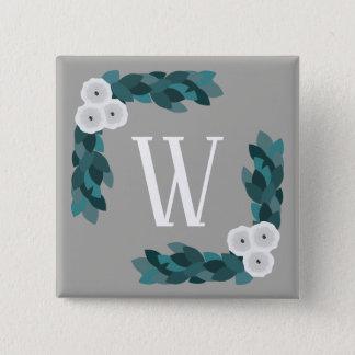 Modern White Ranunculus Flowers & Foliage Monogram 2 Inch Square Button