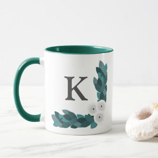 Modern White Ranunculus Flowers & Foliage Monogram Mug