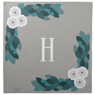 Modern White Ranunculus Flowers & Foliage Napkin