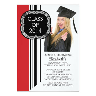 "Modern White Red Photo Graduation Party 5"" X 7"" Invitation Card"