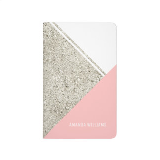 Modern White Silver Glitter Pink triangle Journals