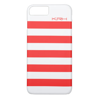 Modern White Stripes Coral-Red Background iPhone 7 Plus Case