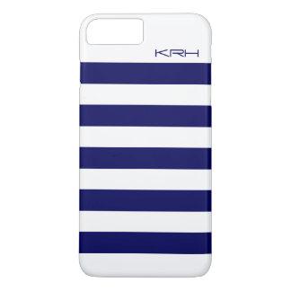 Modern White Stripes Dark Blue Background iPhone 7 Plus Case