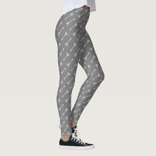 Modern White Tribal Arrows Leggings