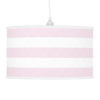 Modern Wide Striped Pendant Lamp in Palest Pink