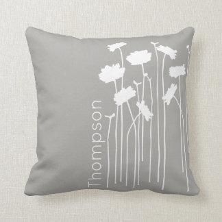 Modern Wildflowers Custom Names Throw Pillow