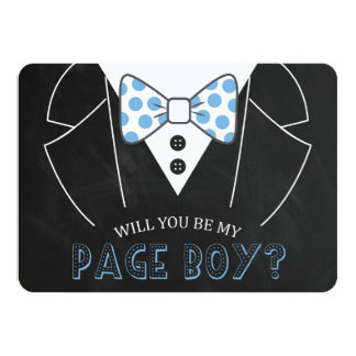 "MODERN WILL YOU BE MY PAGE BOY | GROOMSMAN 4.5"" X 6.25"" INVITATION CARD"