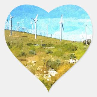 Modern Windmills Heart Sticker