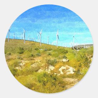 Modern Windmills Round Sticker