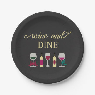 Modern Wine and Dinner Party Black with Gold Text Paper Plate