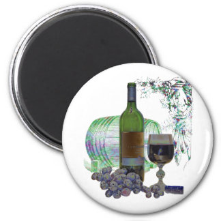 Modern Wine and Grapes Art 2 Inch Round Magnet