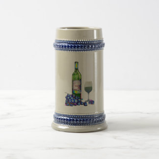 Modern Wine and grapes art gifts 18 Oz Beer Stein