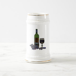 Modern Wine and Grapes Digital Art Beer Stein