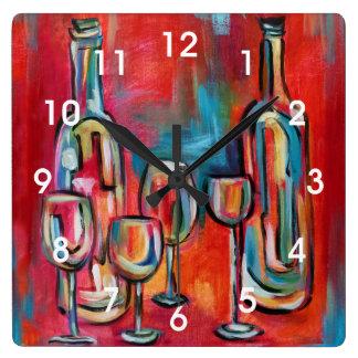 Modern Wine Bottles and Glasses Painting Wallclocks