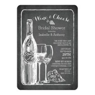 Modern Wine & Cheese Bridal Shower Invitation